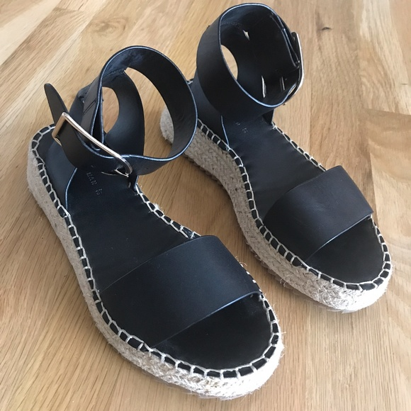 NEW Zara black leather platform jute 37, 7.5